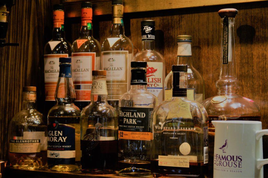 whisky bar at The White Hart pub Iron Acton