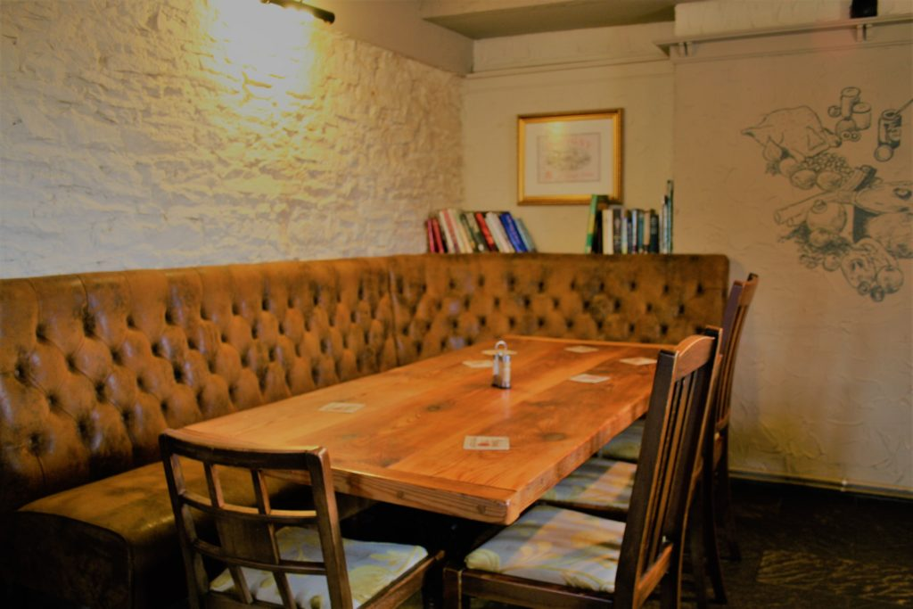 dining table at The White Hart pub Iron Acton