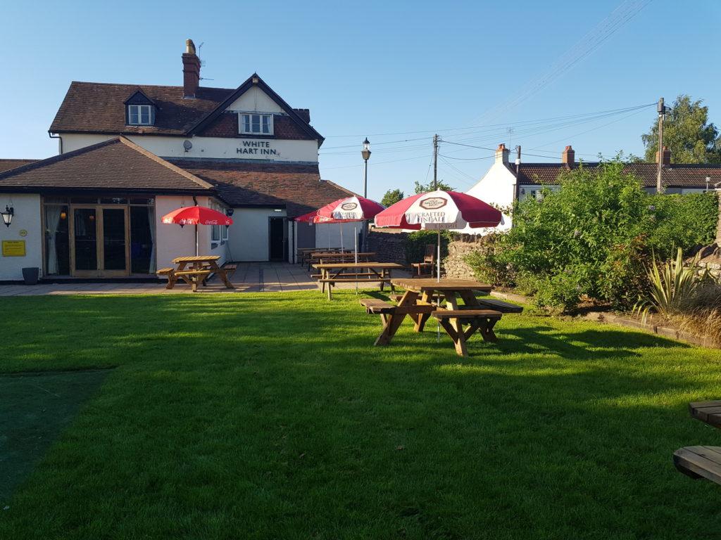 beer garden at The White Hart pub Iron Acton