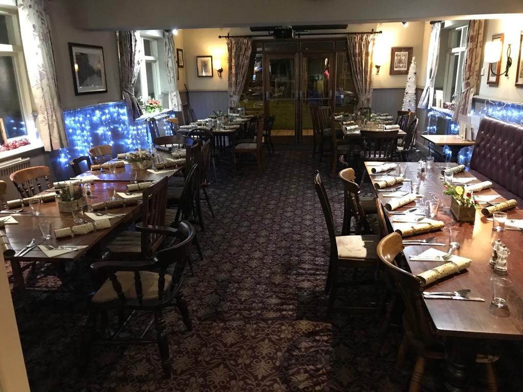 christmas dining area at The White Hart pub Iron Acton